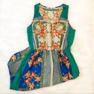 Collective Concepts green orange floral mini dress